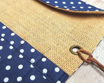 NAVY BLUE CASE Polka Knitting Crochet Needle Roll Organiser Holder Cotton Jute Hessian Burlap Antique Brass Eyelet Brown Leather Fabric Gift