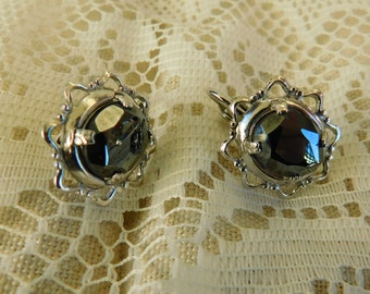 Vintage Earrings, Clip On Earrings, Hematite Earrings,
