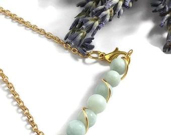 Natural Amazonite Stone Bracelet, Made to Order Stone Amazonite Chain Bracelet, Natural Stone Jewelry