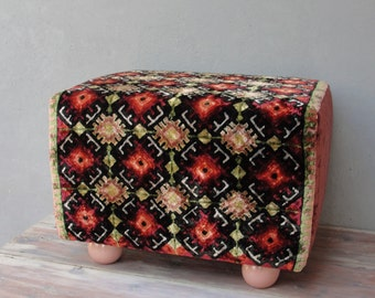 Embroidered Kilim Ottoman, Vintage Embroidery Pouf Bench Bohemian Wooden Furniture Vintage Hand embroidery, Global Textile Wooden Ball Feet