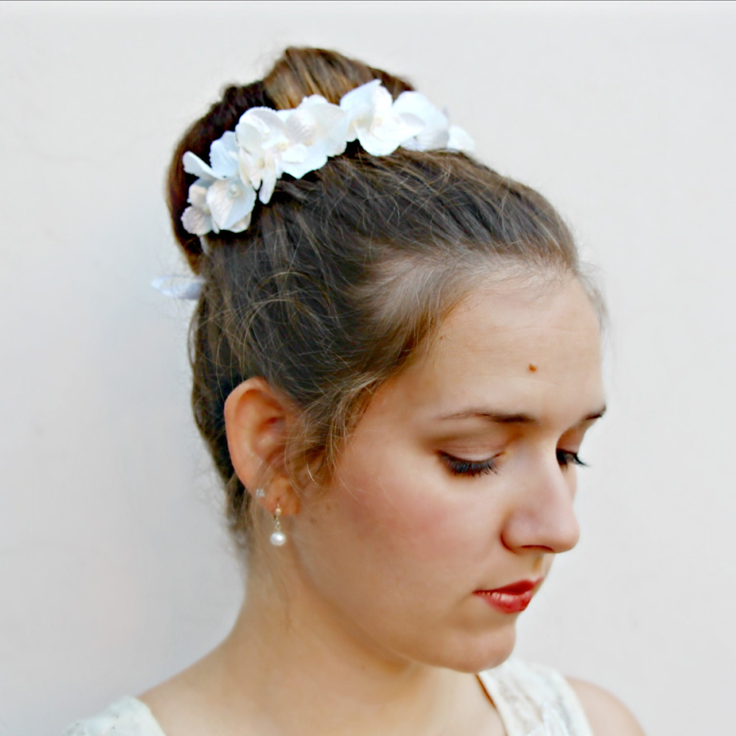 Parasol Opalescent White Hydrangea Bun Belt Wedding Hair