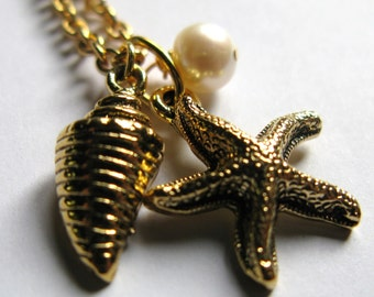 Antique Gold plate plated Starfish star fish conch sea shell and white freshwater pearl nautical charms necklace SALE