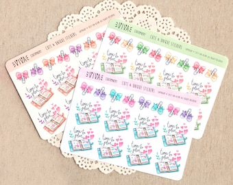 "Hand drawn decorative stickers: ""Time to Plan"" planners and ribbon paper clips  ~ For your Life Planner, Diary, Journal, Scrapbook, notebook"
