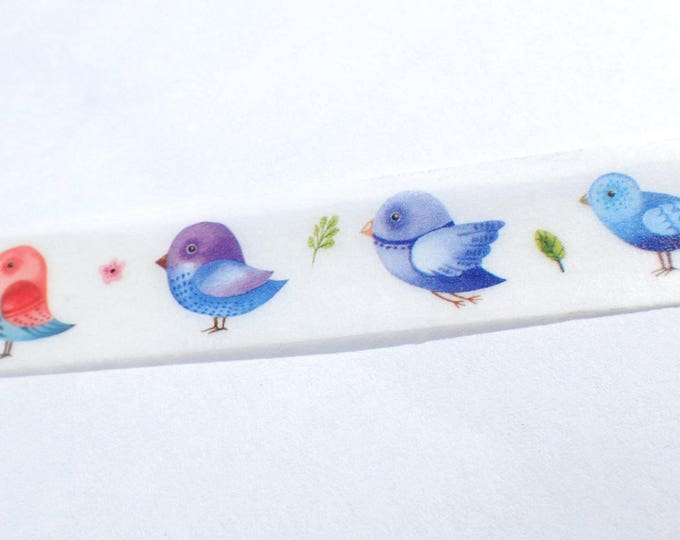 Colorful Birds Washi Tape - Cute Birds of Different Colors - Paper Tape Great for Calendars Paper Crafts Organizing 15mm x 10m