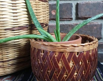 Small Vintage Wicker Planter, Woven Basket Planter