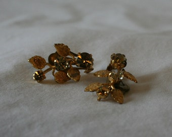 Vintage Leaf Clip On Earrings with Rhinestone Accents