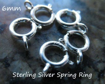 5-500 pcs, 6 mm Spring Ring Clasp Springring Clasps Wholesale Bulk / OPEN, Sterling Silver / small to medium chains fc.s hp solo cs solo