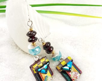 Dichroic glass earrings, fused glass jewelry, dichroic glass,red earrings, bohemian jewelry, Hana Sakura, fusion glass earrings, aqua blue