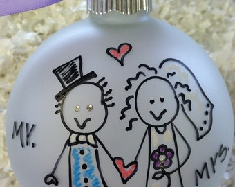 Newlyweds Just Married Christmas Ornament Personalized Hand Painted Custom Made