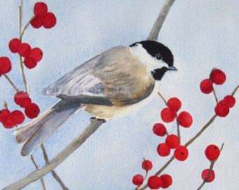 chickadee watercolor print