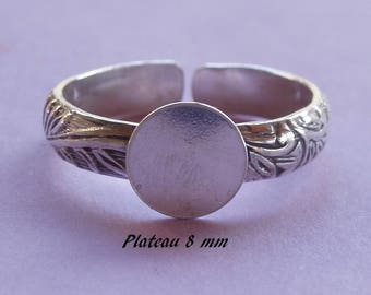 Ring in sterling silver. 925, pattern sheets, 8 mm flat top