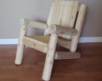 Log Adirondack Chair   Kids Childrens   Outdoor Furniture Cedar Home Lodge  Cabin