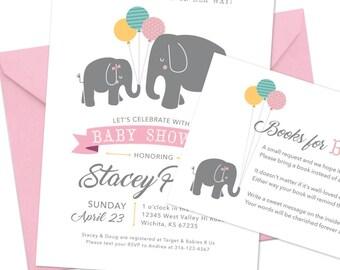 Elephant baby shower invitation Set – Digital