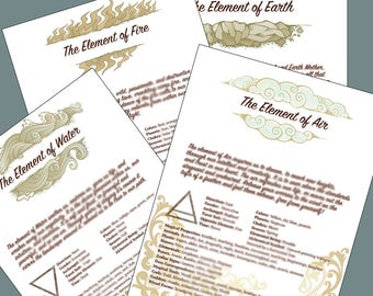Book of Shadows Pages Four Elements White Background