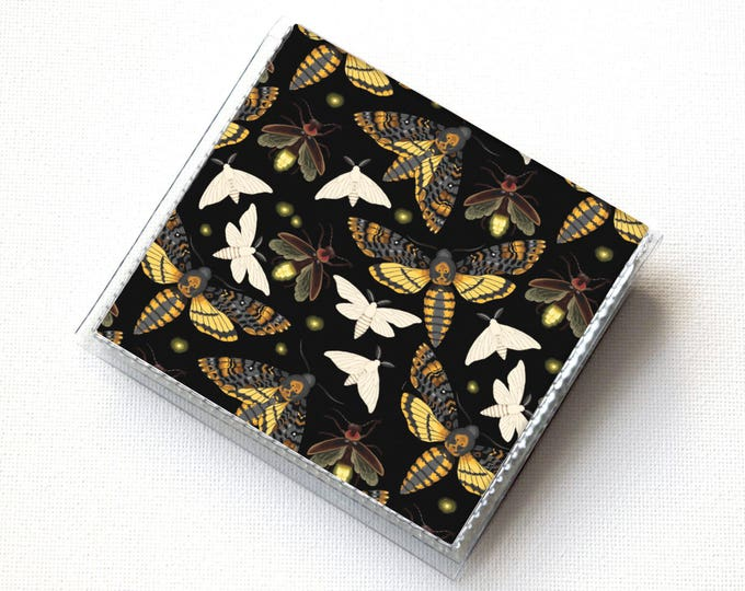 Vinyl Moo Square Card Holder - Moths and Fireflies / butterflies, insects, snap, mini card case, moo case, small, square, gift, black