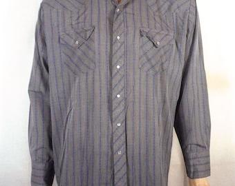 vtg 80s Running S gray/blue Striped Western Pearl Snap Shirt ls sz 18 XXL