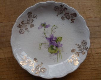 Antique/Vintage 1890s to 1920s Butter Pat Dish Small White Gold Trim Purple Violet Flowers Scalloped Edging No Markings