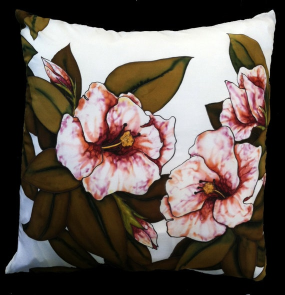 "PRETTY IN PINK Hand Painted Silk Throw Pillow -  ""-Made to Order"