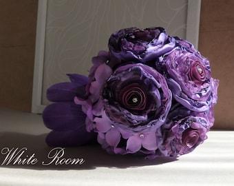 Purple wedding bouquet, Violet wedding bouquet, Bridal bouquet, Wedding bouquet, Handmade wedding bouquet, Brooch bouquet, DIYFabric bouquet