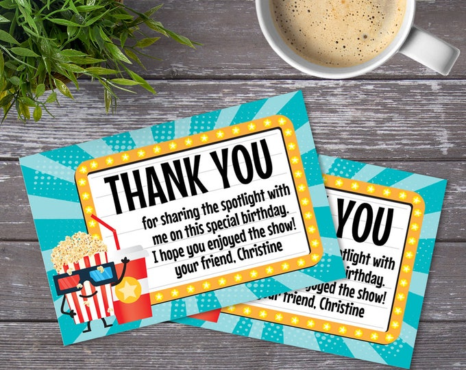 Movie Party Thank You Card - Thank You, Birthday Party, Movie Night | DIY Editable Text Instant Download PDF Printable