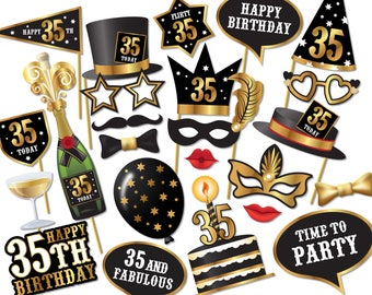 35th birthday Photo Booth props - Instant Download printable PDF. Thirty fifth birthday party Photo Booth supplies. Thirty Five Today - 0213