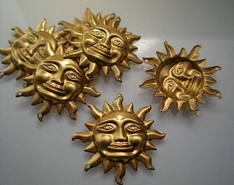 6 large brass sun charms