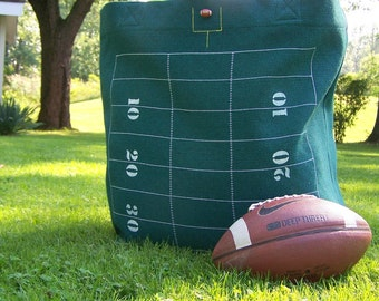 Football Tote Bag - Oversized Tote - Green - Stadium Bag - Football Field - Extra Large Bag
