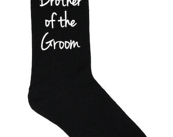 Brother of the Groom Socks - Black Wedding Socks - Size 10-13