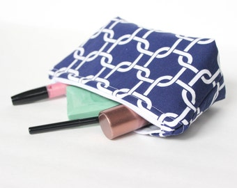 Zipper Pouch - Navy and White Zipper Pouch - Cosmetic Bag - Pencil Case - Back To School Needs