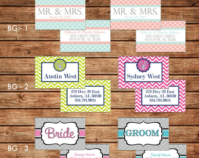 TWO Bride and Groom  / Husband and Wife Honeymoon Wedding Luggage Tags - Design your own - ONE DESIGN