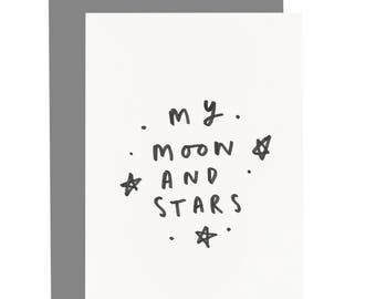 My Moon and Stars Valentine's Card - Love Quote Card - Love Card - CC231