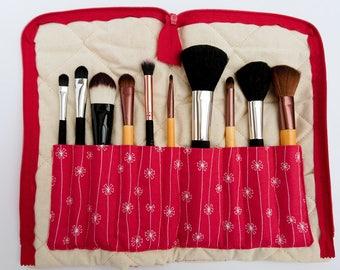 Makeup brush holder, brush organiser, gift for friend, gift for her, red gift