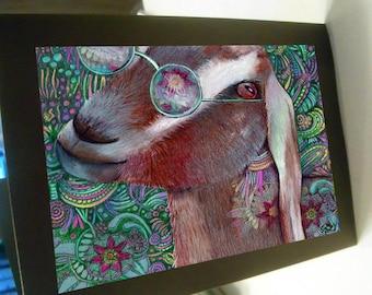 greeting card zentangle groovy goat blank card