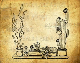 Cactus Cacti Cereus Clipart Lineart Illustration Instant Download PNG JPG Digi Line Art Image Drawing L272