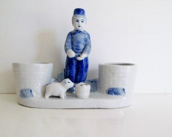 Vintage Delft Porcelain Planter Dutch Boy Bloom Rite Planter Blue and White Mid Century Decor