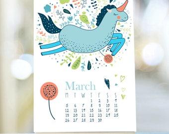 Unicorns & Princesses 2018 Calendar, 2018 Desk Calendar, Stand Calendar, Easel Desk Calendar, Cute Desk Calendar, 2018 Calendar