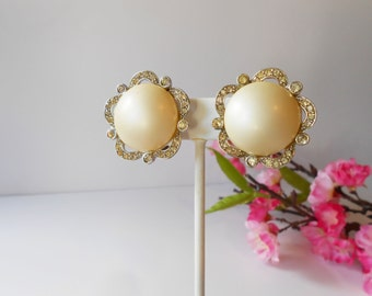 Pearl Earrings, Vintage Earrings, Pearl and Rhinestone, Clip On, Sparkly Pearl Earrings, Costume Jewelry, Richleiu