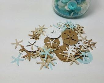 beach party - beach decorations - beach confetti - beach favors - destination wedding favors - sand dollar confetti - sand dollar favors