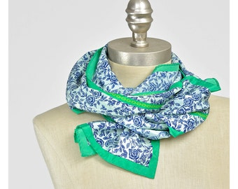 Vintage Floral Scarf Neckerchief • Rose Print Scarf • Baroque Scarf • Chain Print Neck Scarf • Oblong Scarf • Green Blue Floral Print Scarf