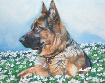 German Shepherd dog art portrait CANVAS print of LA Shepard painting 8x10