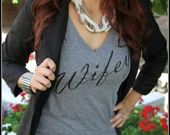 SALE!!!! WIFEY Shirt, Honeymoon shirt, Bridal Shower Gift, Wedding, Bride, Bachelorette, Gift, Bride To Be, Wife, Couple shirt