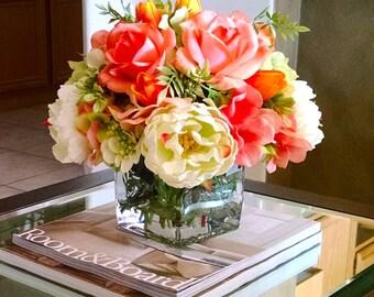 Fall Real Touch Flowers Centerpiece-Fall arrangement-Real Touch Roses-Floral Arrangement-Real Touch Peonies Autumn Arrangement
