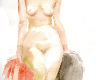 Original watercolor painting of the female nude-05, Holiday present / birthday present / art collection