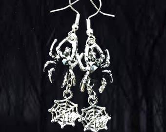 50% SALE Halloween Jewelry..Halloween Earrings..Black Spider Earrings..Spider Web Earrings..Spider Costume Women..Witch Costume Women