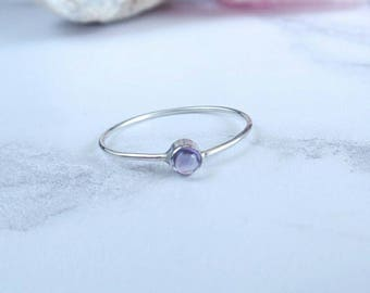 Silver Amethyst Ring - Sterling Silver Ring - Silver Stacking Ring - Tiny Gemstone - Semi Precious Stone - Bridesmaid Gift - Gift for Her