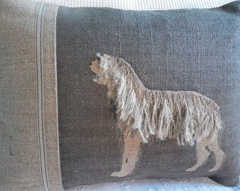 New hand printed , appliqued and stitched hound cushion