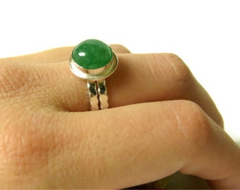 Gemstone ring aventurine ring Silver stone ring sterling silver ring mint green gemstone ring sterling silver gemstone ring