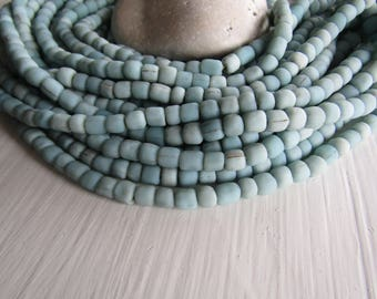 light blue glass seed bead, matte opaque barrel tube, small ethnic spacer, indonesian 3 to 6mm, new indo-pacific (22 inches)7ab29-18