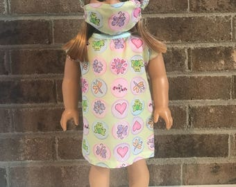 "18"" Doll Hospital Gown, Hat,& Mask (fits American Girl Dolls)"