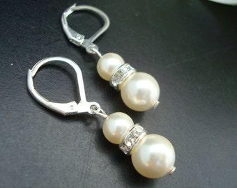 Pearl Bridal Earrings, Ivory Swarovski Pearls, Dangle Earrings, Wedding Pearl Earrings, Bridal Classic Earrings, Bridal Jewelry, KRISTEN